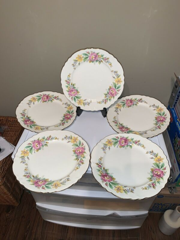 5 Homer Laughlin Spring Wreath Dinner Plates