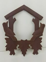 Vintage Black Forest German Cuckoo Clock 8 Wide Front Trim 2 Birds, Leaves