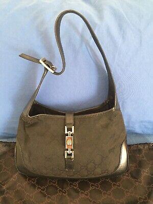 Authentic Vintage GUCCI Jackie Black GG Canvas Small Hobo Shoulder Handbag