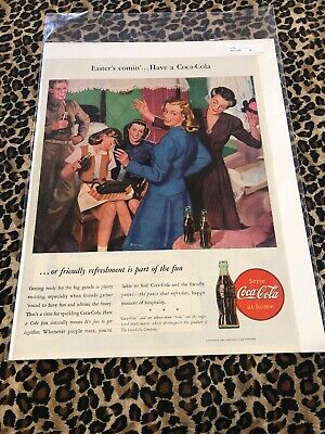 COCA COLA Ad Advertisement VINTAGE LIFE 1946 EASTER'S COMING c288
