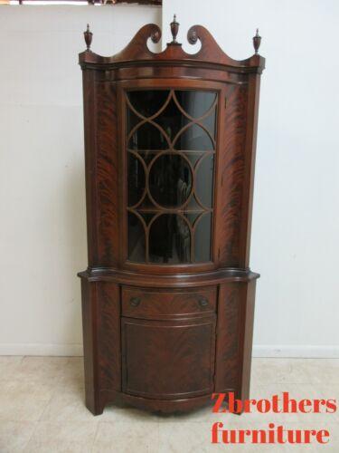 Antique Empire Flame Mahogany Serpentine Corner Cabinet Hutch Display