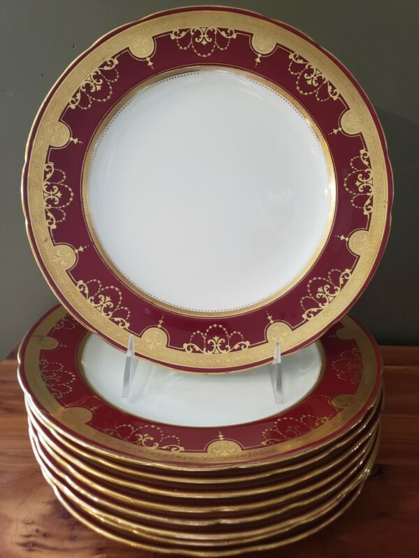 """Antique MINTON TIFFANY & CO 9.75"""" RED BURGUNDY GOLD ENCRUSTED Dinner 9 Plates"""