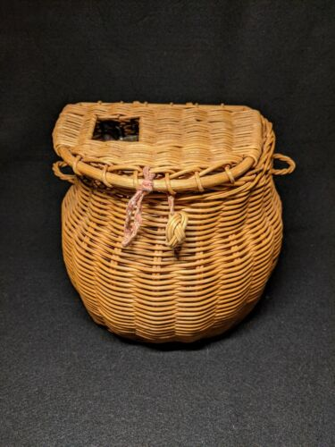 Vintage Fishing Creel Wicker With Leather Strap