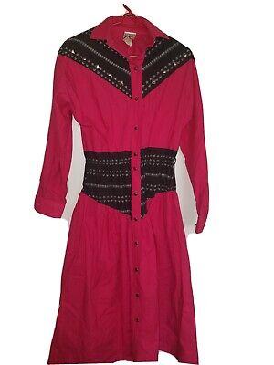 Western Wear Dress M Roper Vtg Pink Black Embellished Halloween Costume S