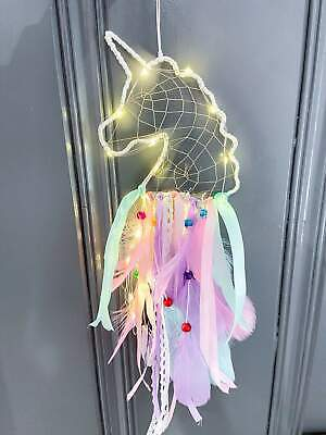 Unicorn Dream Catcher Catchers with LED Light Up Colorful Purple Pink and Blue F Collectibles