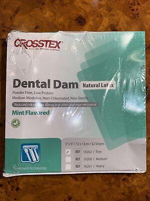 Crosstex Dental Dam Mint Flavored Natural Latex 19202 Thin 52 Sheets Exp 222
