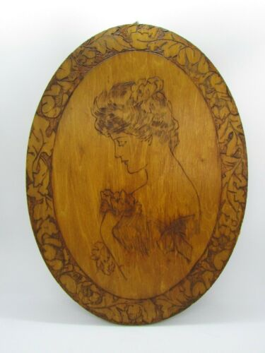 """Carved Wood Oval Plaque with Victorian Lady, 13 1/2"""" x 9 7/8"""""""