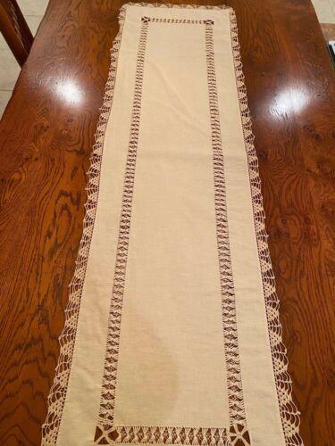 "Antique drawn pulled thread lace linen runner crochet edging beige 53"" x 15"""