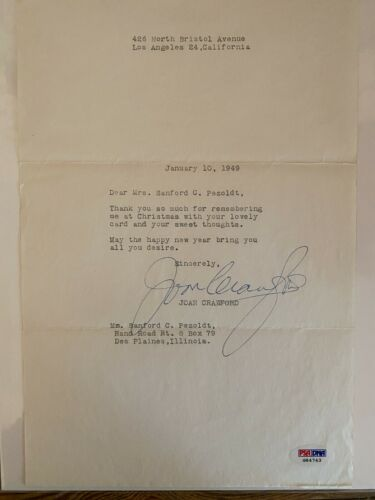 RARE JOAN CRAWFORD AUTOGRAPHED / SIGNED LETTER. PSA/DNA COA. THE BEST ON EBAY