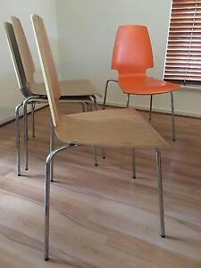 Chair Set Oak Veneer Orange Chrome-plated Ridleyton Charles Sturt Area Preview