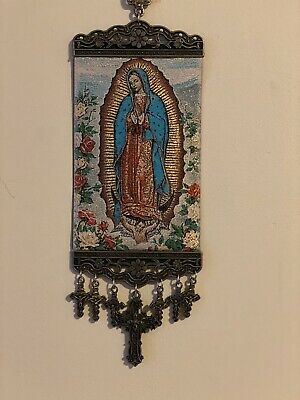 Guadalupe Mary icon banner Religious Rose Pure Cotton with Gold Yarn