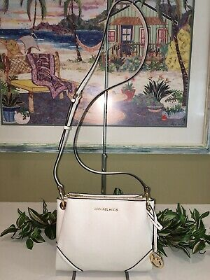MICHAEL KORS NICOLE LARGE TRIPLE COMPARTMENT CROSSBODY BAG VANILLA LEATHER $328