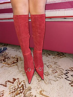 $1450 JEU DE FEMME RED Stretch Boots Suede Leather Heels Italy coin bicego
