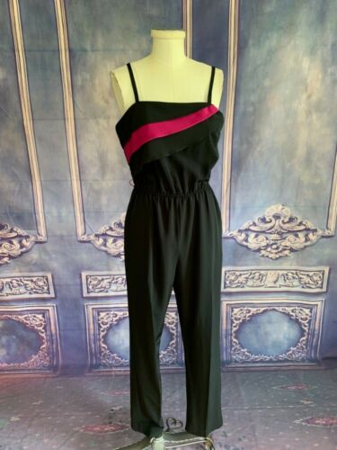Vintage 80s Polyester Spaghetti Strap Disco Jumpsuit SMALL One Piece Cinch Waist