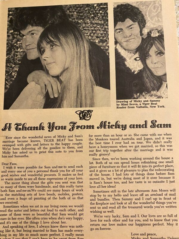 Micky Dolenz, Samantha Juste, The Monkees, Full Page Vintage Clipping
