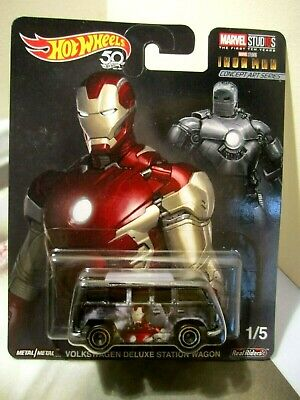 Hot Wheels Pop Culture Marvel Ironman Volkswagen Deluxe Station Wagon Real Rider