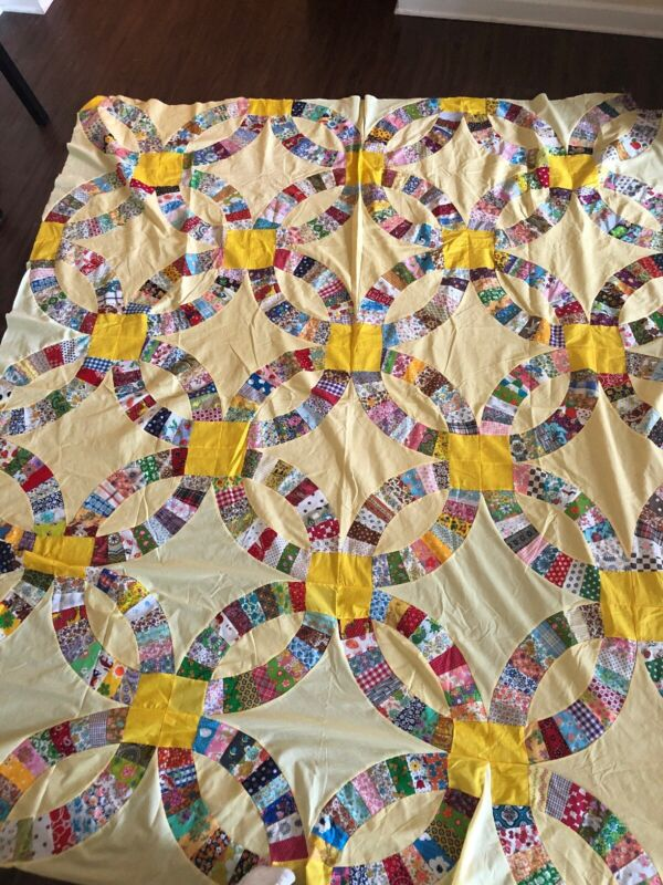 Vintage Quilt Top Double Wedding Ring Beautiful Colors Vintage Fabrics