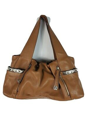 B MAKOWSKY Large Brown Leather Tote Handbag Shopper Boho Hobo Biker Slouch Purse