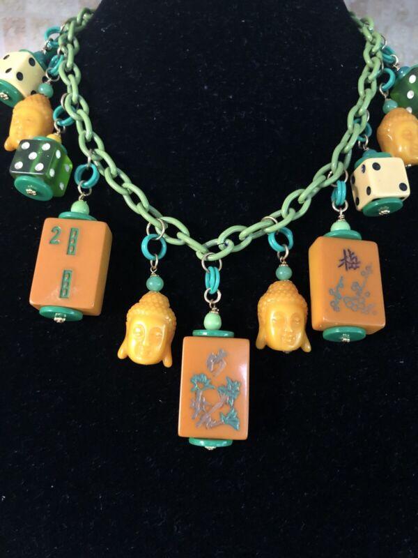 Bakelite Mah Jong Tile Dice Necklace Butterscotch Buddha Green Vtg Look Chain
