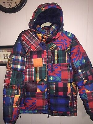 Polo Ralph Lauren Aztec multicolor puffer down JKT. Tartan plaid patchwork