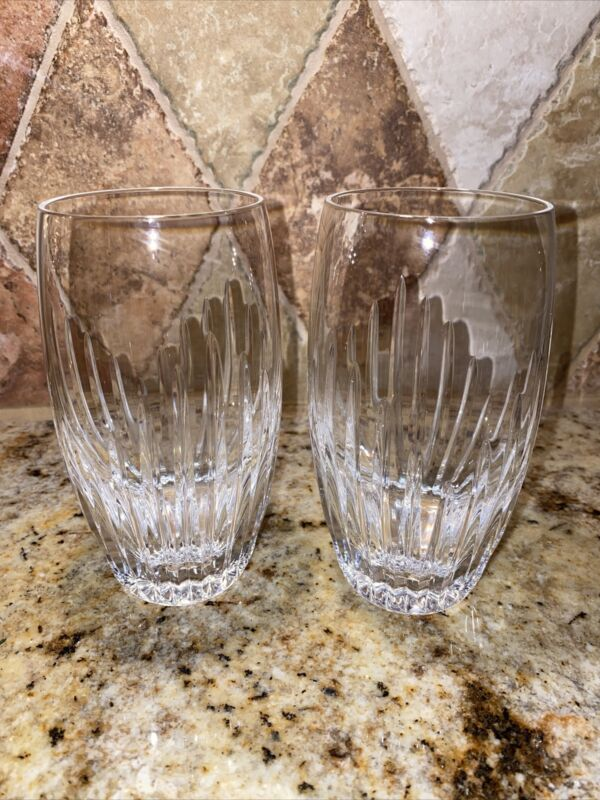 Baccarat France Masséna Highball Glasses Pair Crystal Tumblers Cups Orgue Bevel