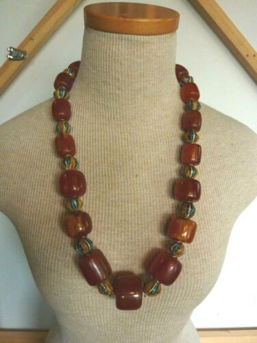 VINTAGE BUTTERSCOTCH CHERRY-ISH RESIN AMBER AND TRADE BEAD  26 IN. STRAND