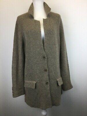 Eileen Fisher Sweater Coat Jacket L Large 100% ALPACA Knit Longer Toffee