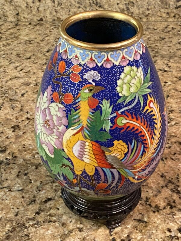 Vintage Cloisonné Vase Rooster Flowers Blue Brass Enamel Chinese With Stand