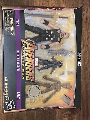 MARVEL LEGENDS - Avengers Infinity War 3-Pack Thor Rocket Raccoon Groot TRU NEW