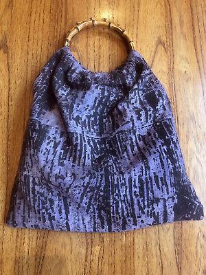 1950s Handbags, Purses, and Evening Bag Styles Ladies Purple & Black 1950s Small Cotton Tote Bag - Bamboo Handles Vintage $26.21 AT vintagedancer.com