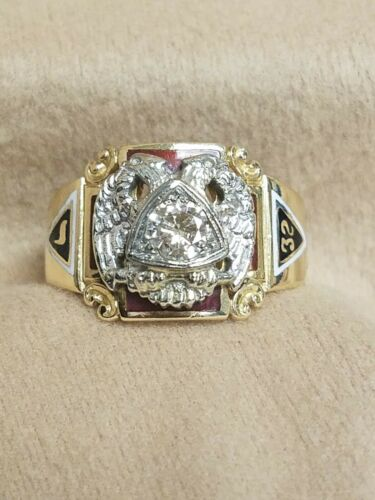 14K Yellow Gold Masonic Diamond & Enamel Ring Double Headed Eagle 32degree Sz 12