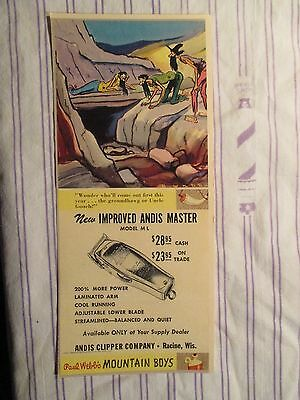 "Vintage Barbershop Humorous Andis Master Clipper Sign/Ad Cartoon ""Mountain Boys"""