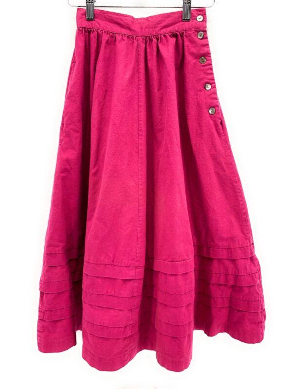 Vintage Laura Ashley Girls Long A Line Skirt Purple UK 8 US 6 Pleated Hem Button