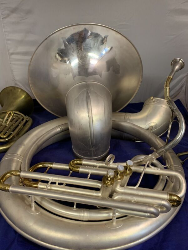 CONN  38 SOUSAPHONE. Overhauled and silver plated.New case,neck, bits, mouth pc