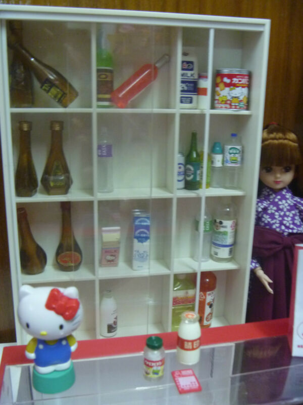 Doll House 1/6 scale Wine Shelf Convenience store Cabinet 2 Doors Diorama
