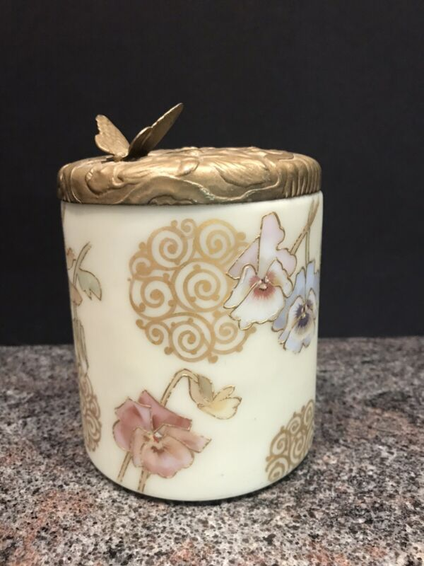 CROWN MILANO Mt. Washington RICHLY DECORATED W/BUTTERFLY LID. Biscuit Jar