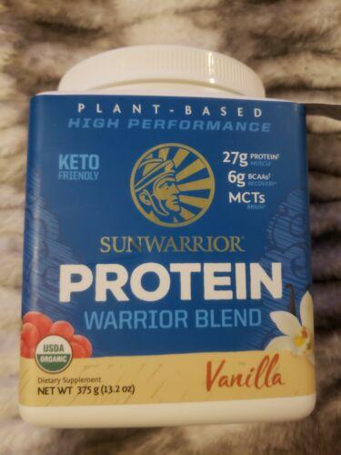 Sunwarrior Protein Warrior Blend Organic Plant Based VANILLA 13.2oz BB 4/16/22