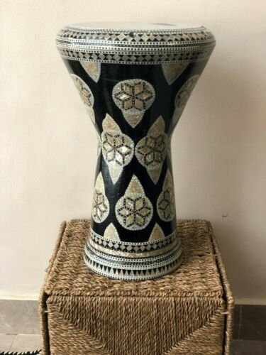 Egyptian Inlaid Mother Of Pearl Darbuka Doumbek Tomtom Tombak Percussion Drum
