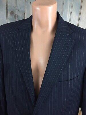 58 EU 48 US VERSACE 100% WOOL STRIPED NAVY Jacket Blazer Sport coat DRY CLEANED