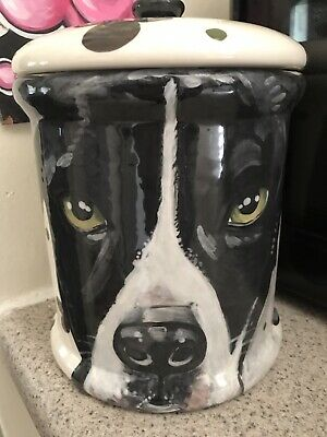 Custom Ceramic DOG TREAT Cookie Jar Great Dane  large canister Treats urn
