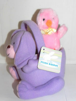 Estate=Purple Easter Basket  Dog with Pink chick in Back, NWT Easter Decor LOOK