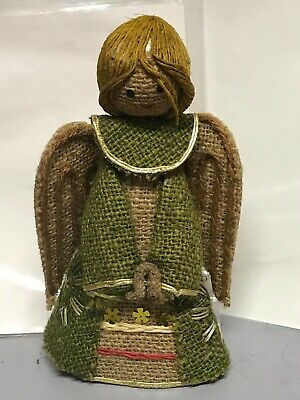 Vintage Burlap/Cardboard Christmas Angel Tree Topper Ornament 8.5""