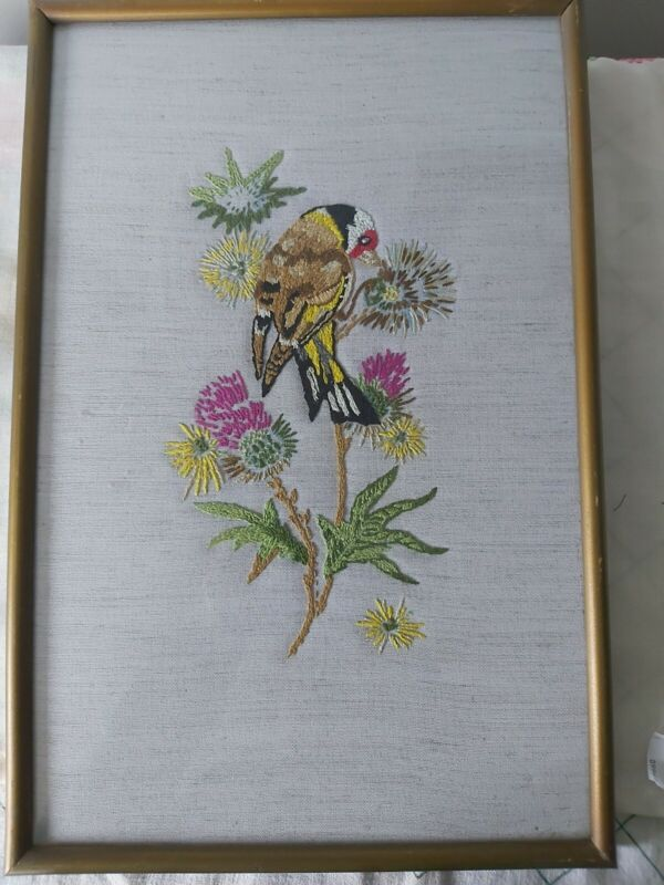 Vintage hand embroidered framed glazed picture Goldfinch birds blossom beautiful