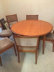 Teak extension dining table with 6 chairs Kareela Sutherland Area Preview