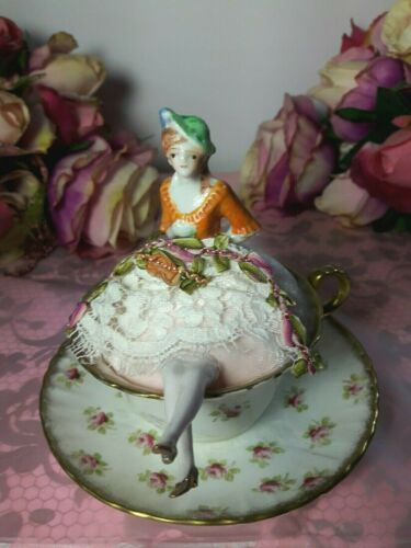 ANTIQUE HALF DOLL PIN CUSHION IN CUP