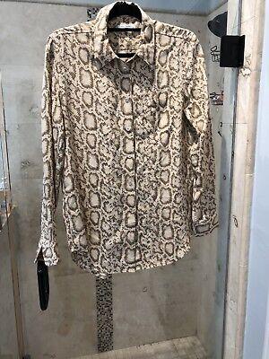 NEW Tan Equipment Femme 100% Silk Keira Animal Print Blouse M $268