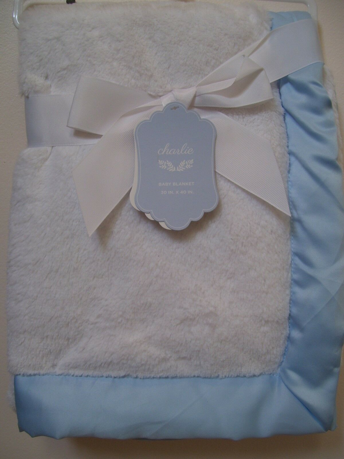 Boys Girls Charlie White with Blue Satin Trim Soft Baby Blan
