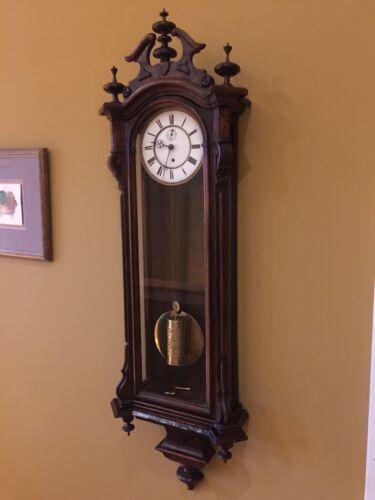 Early Antique Gustav Becker Single Weight Vienna Regulator Wall Clock- Running!