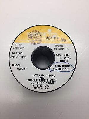 Indium Solder Wire 59996y Sn10 Pb90 .025 New Spool 12 Lb 227 Gm