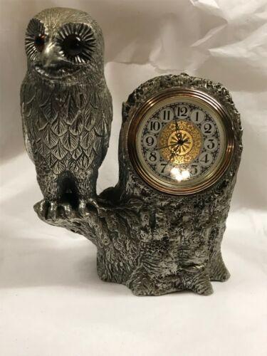 Vintage Heavy Metal Owl Clock - Excellent cond.